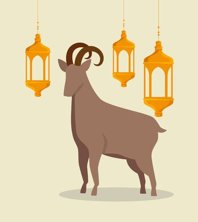 traditional goat animal sacrifice with lamps to eid al adha, vector illustration