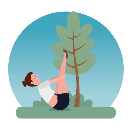 woman practice yoga position harmony with tree and bush plant, vector illustration