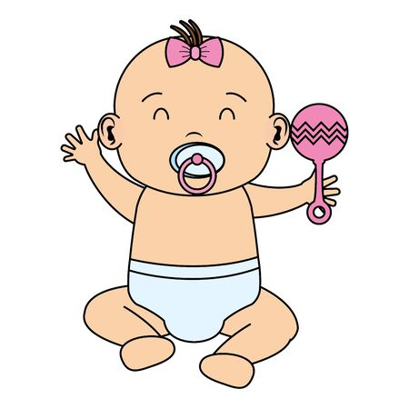 cute little baby girl with bell character vector illustration design