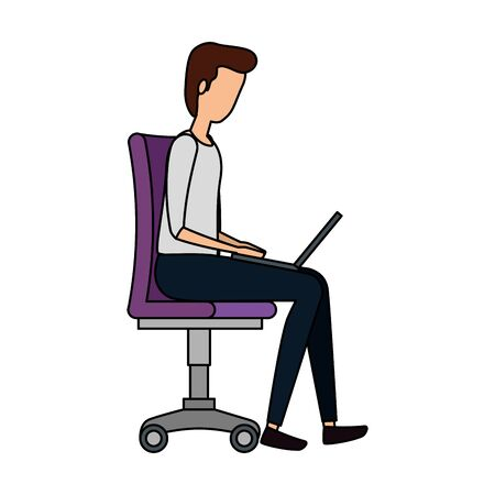 elegant businessman using laptop seated in office chair vector illustration design Иллюстрация