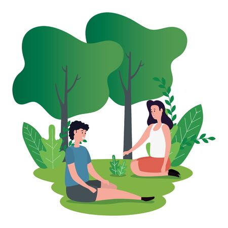 cute lovers couple seated on the park characters vector illustration design