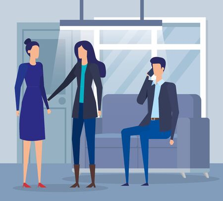 professional businesswomen and businessman teamwork with smartphone in the office, vector illustration Stock Illustratie