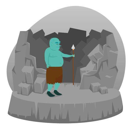 schattige trol met speer in de stenen sculptuur om karakter te vertellen, vectorillustratie