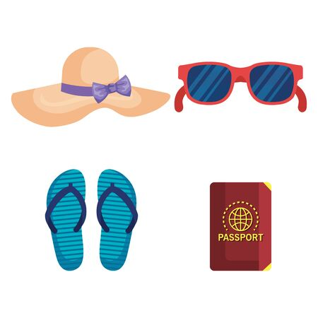 set of hat with sunglasses and flip-flop with passport to summer time over white background vector illustration