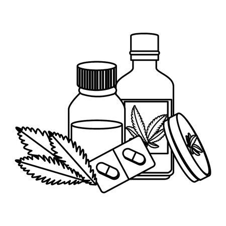 cannabis ointment with bottles and leafs vector illustration design