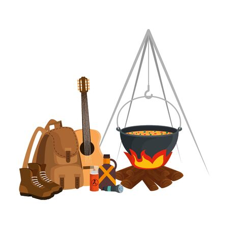 camping travel bag with woodfire and equipment vector illustration design 向量圖像