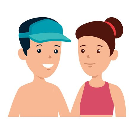 young boy shirtless with sport cap and cute woman vector illustration design