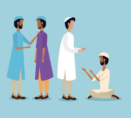 arabs men with traditional religion celebration to eid al adha, vector illustration Vettoriali