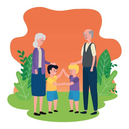 cute grandparents couple with grandsons vector illustration design