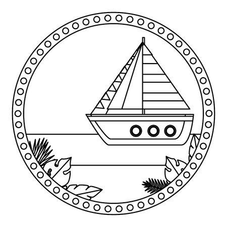 circular frame with summer beach and sailboat vector illustration design Illustration