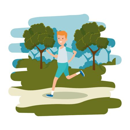 happy athletic boy running in the camp vector illustration design Ilustracja