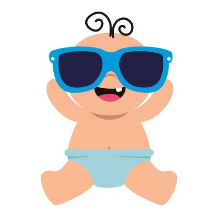 cute little baby boy with sunglasses vector illustration design