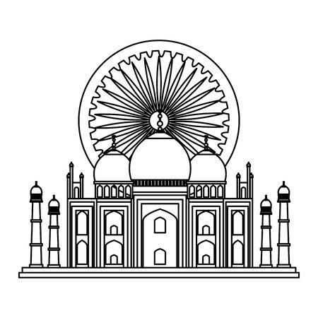 ashoka chakra with tag majal indian mosque vector illustration design 일러스트