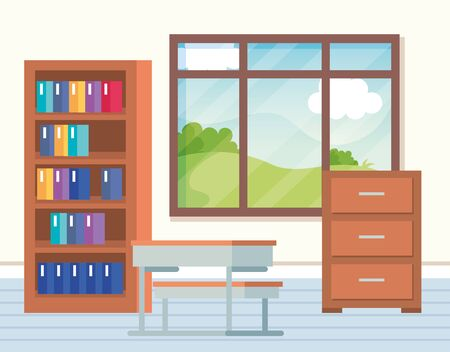 academic classroom with desks and books inside bookcase to school education vector illustration