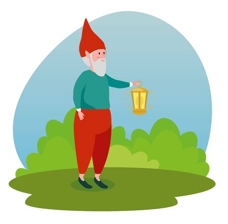 old man gnome with lamp and bushes to tale character, vector illustration Ilustração