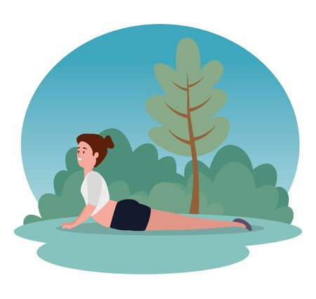 healthy women training yoga position with tree and bushes plants, vector illustration