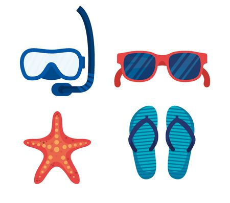set of snorkel masks with sunglasses and starfishes with flip-flop over white background vector illustration
