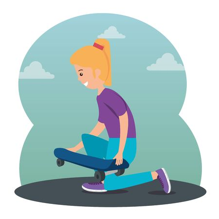 girl kid playing skateboard sport to extreme lifestyle vector illustration