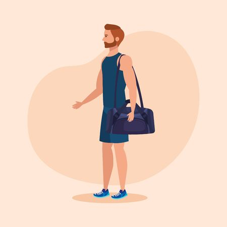 fitness man with bag to practice sport over pink background, vector illustration
