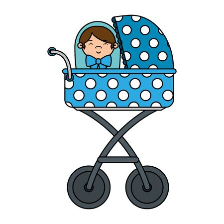 cart with cute little boy baby vector illustration design