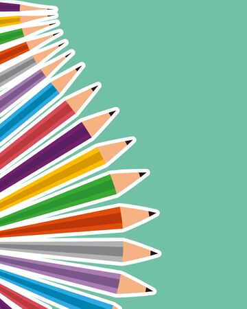 set of colors pencils school vector illustration design