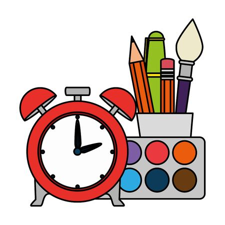 alarm clock with school supplies vector illustration design Иллюстрация