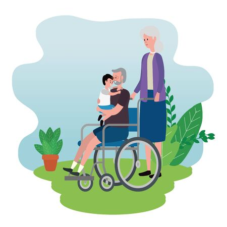 cute grandparents couple with grandson in wheelchair vector illustration design