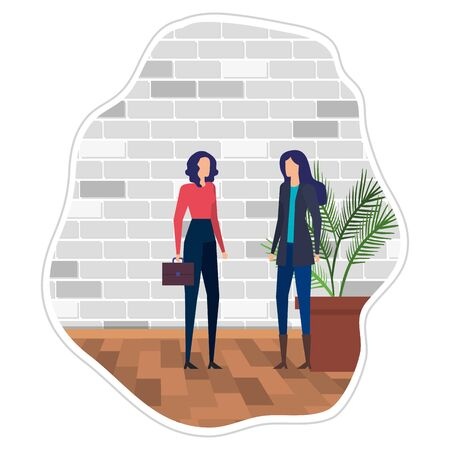 elegant young businesswomen in the workplace vector illustration design