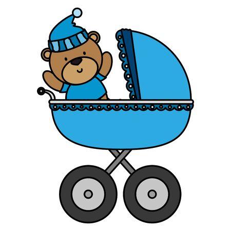 little bear teddy in baby cart vector illustration design Stock Vector - 129736853