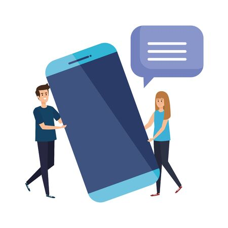 couple lifting smartphone with speech bubble vector illustration design