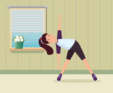 girl practice yoga healthy activity in the home to summer sport vector illustration