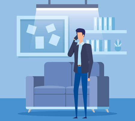 businessman worker calling with smartphone in the livingroom vector illustration