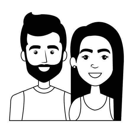 young couple urban style characters vector illustration design Standard-Bild - 129736865