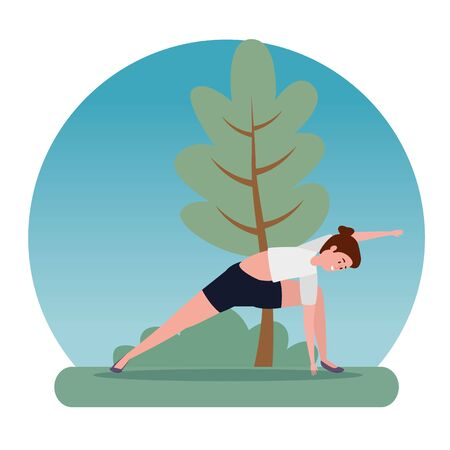 healthy woman yoga exercise pose with tree and bush plant, vector illustration