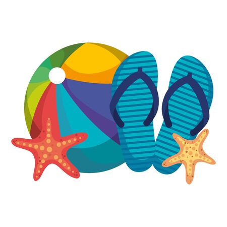 beach ball with flip flops and starfish vector illustration design
