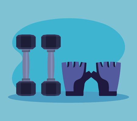 dumbbells with gloves over blue background to fitness lifestyle, vector illustration Illustration