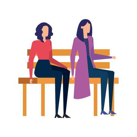 elegant businesswomen seated in the park chair vector illustration design Çizim