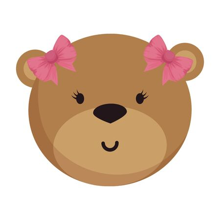 little female bear teddy with bows vector illustration design