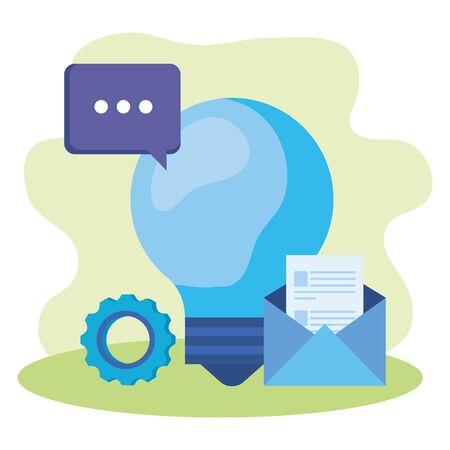 bulb light idea with envelope and speech bubble vector illustration design Çizim