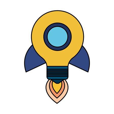 bulb light think rocket start up vector illustration design