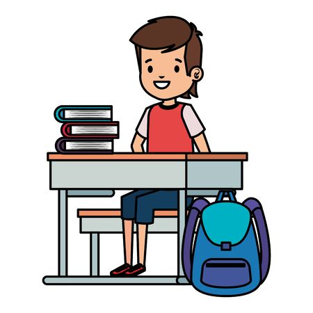 student boy seated in school desk with books and bag vector illustration design Banco de Imagens - 129736961