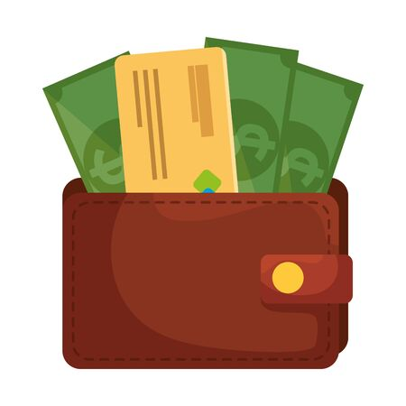 wallet money with credit card and bills dollars vector illustration design Stock Illustratie