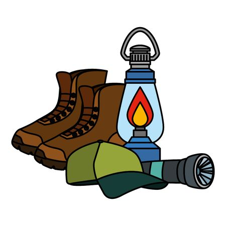 kerosene lantern with boots and cap vector illustration design Illustration