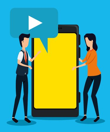 businessman and businesswoman with chat bubble video and smartphone to teamwork strategy, vector illustration