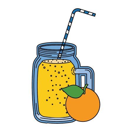 juice orange fruit beverage jar with straw vector illustration design Stock Illustratie