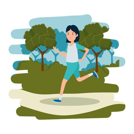 happy athletic girl running in the camp vector illustration design