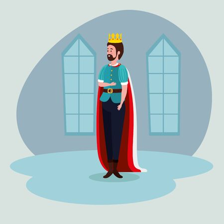 man king with cape and suit in the castle to tale character, vector illustration