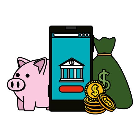 smartphone with bank building app and piggy vector illustration design Stock Vector - 129737131