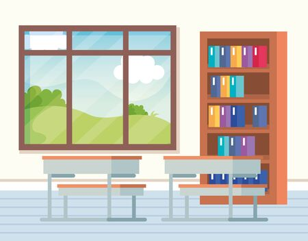 classroom with books inside bookcase and window with desks to school education vector illustration