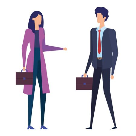 elegant business couple workers avatars characters vector illustration design